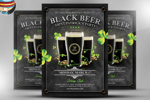 Saint Patrick S Day Black Beer Flyer