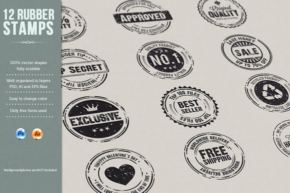 12 Rubber Stamps AI EPS And PSD