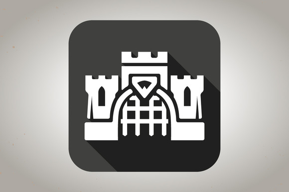 Black Flat Castle Icon