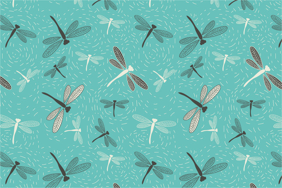 Seamless Pattern Dragonfly