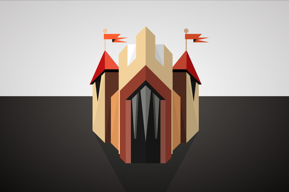 Cartoon Castle Drawn In Perspective