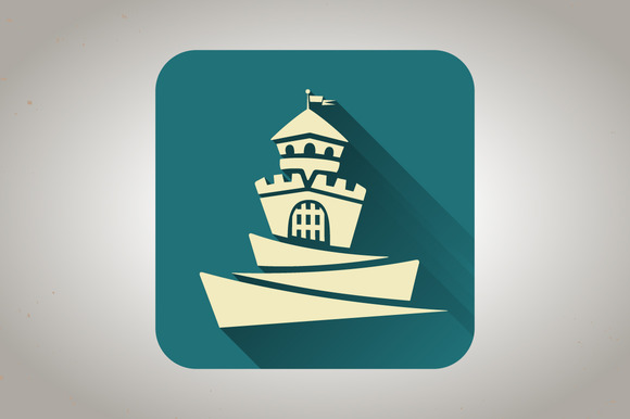 Blue Flat Icon With Castle