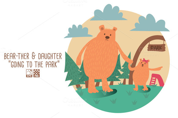 Bear-ther Daughter-going To Park