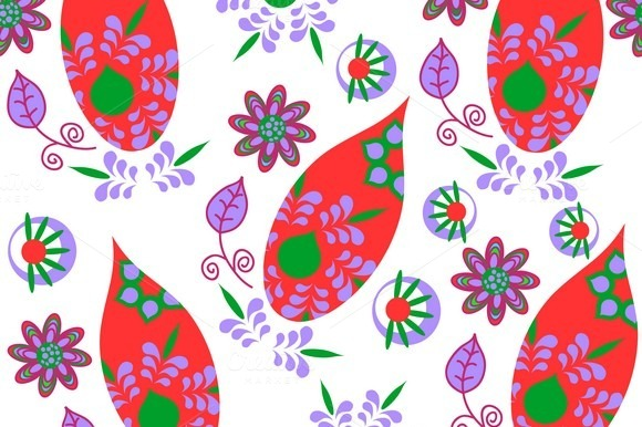 6 Paisley Seamless Patterns