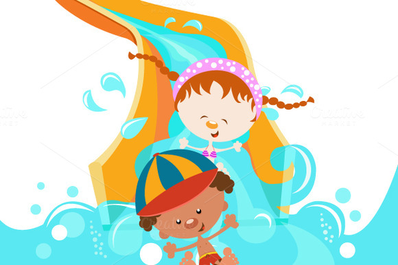 Kids On Waterslide
