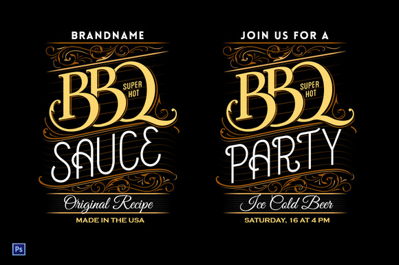 BBQ Party Sauce Lettering Template