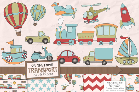 Transportation Clipart Patterns