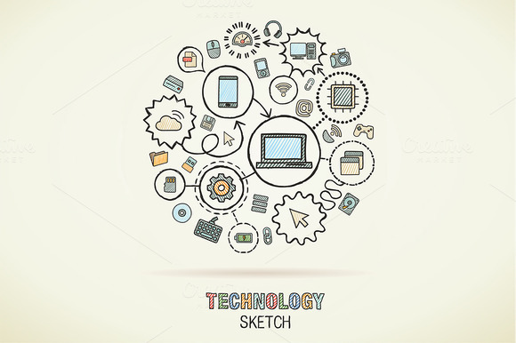 Technology Hand Draw Sketch Icons