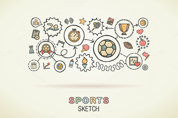 Sport Hand Draw Integrated Icons