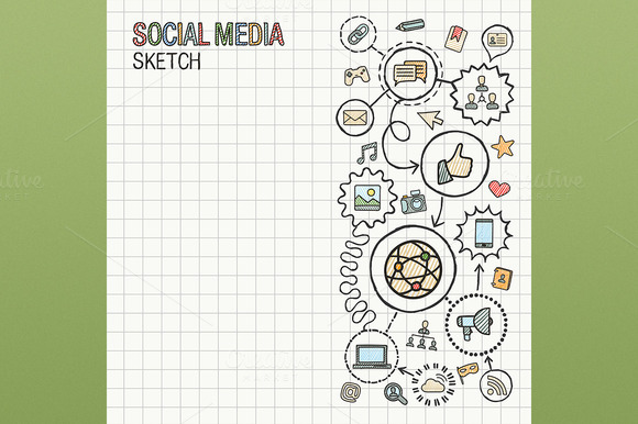 Social Media Hand Draw Icon On Paper