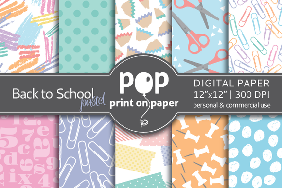 Back To School Pastel Digital Paper
