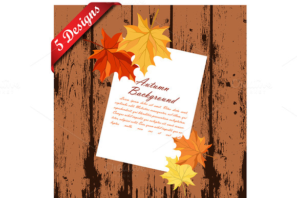 Set Of 5 Autumn Designs