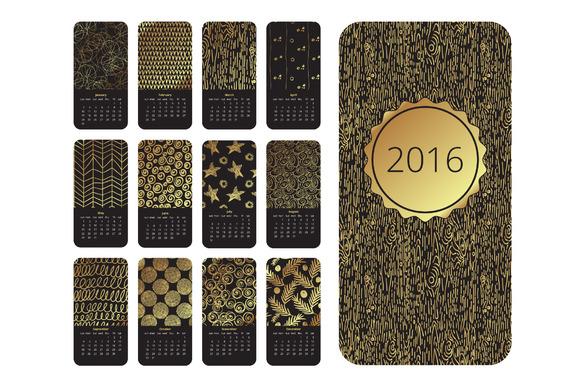 Calendar 2016 Gold Hand Drawn