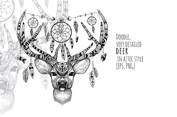 Textured Deer In Aztec Style