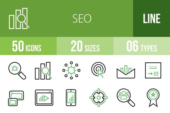 50 SEO Line Green Black Icons