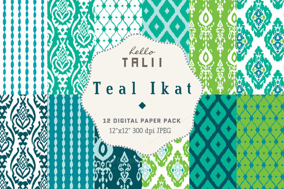 Teal Ikat Digital Paper