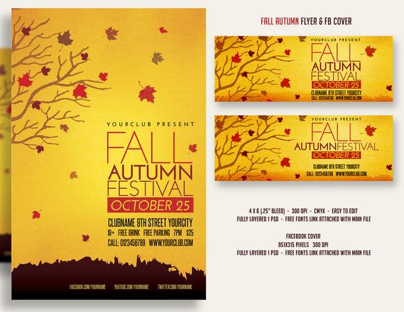 template fall autumn festival flyer fbcover. Black Bedroom Furniture Sets. Home Design Ideas