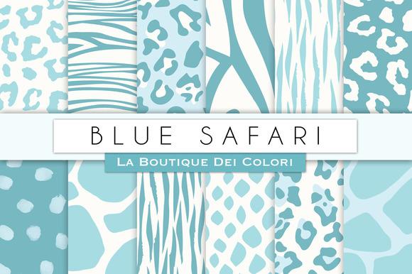 Blue Animal Prints Digital Papers