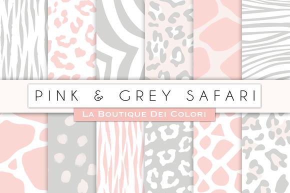 Pink Grey Animal Prints