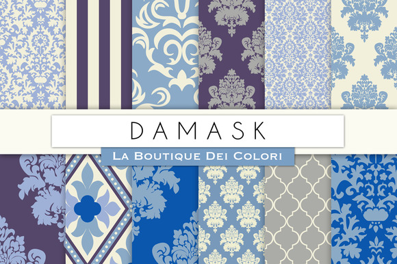 Blue Damask Digital Paper