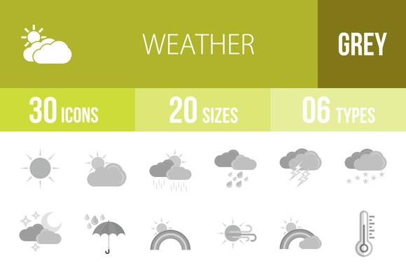 30 Weather Greyscale Icons