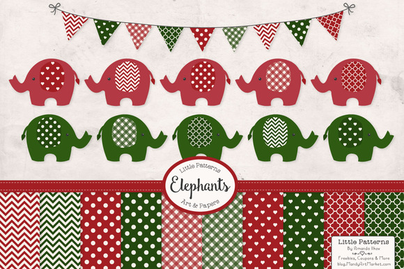 Christmas Elephant Clip Art Papers