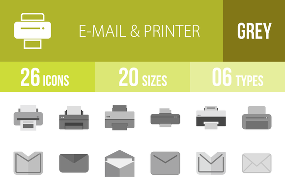 26 Email Printer Greyscale Icons