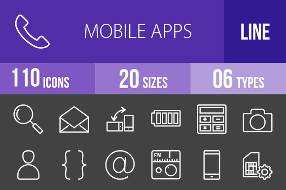 110 Mobile Apps Line Inverted Icons