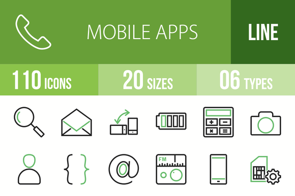 110 Mobile Apps Green Black Icons