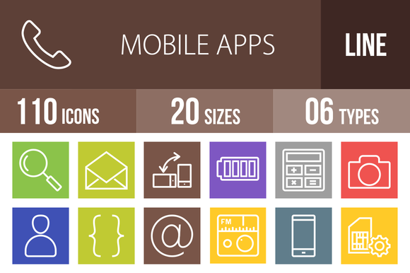 110 Mobile Apps Line Multicolor Icon