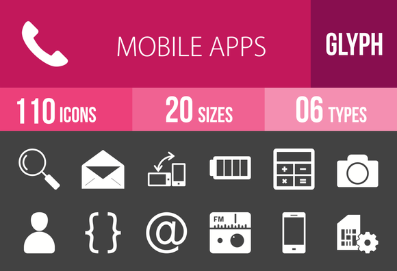 110 Mobile Apps Glyph Inverted Icons