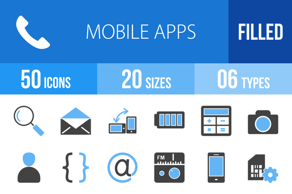 110 Mobile Apps Blue Black Icons