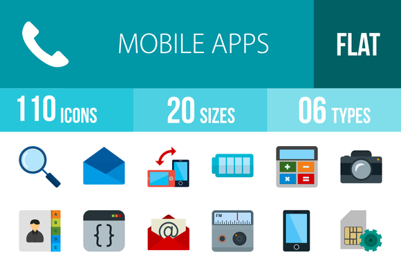 110 Mobile Apps Flat Multicolor Icon
