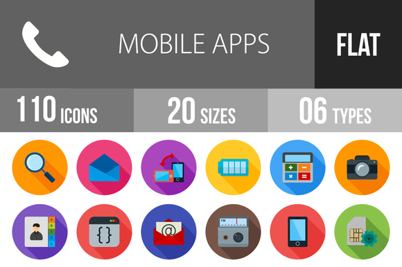 110 Mobile Apps Flat Shadowed Icons