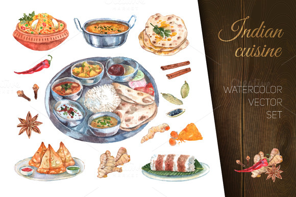 Indian Cuisine Watercolor Set