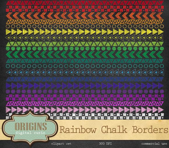 Rainbow Chalkboard Geometric Borders