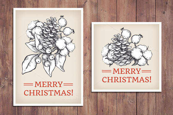 Vintage Christmas Cards Hand Drawn