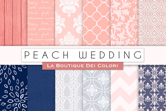 Peach Wedding Digital Papers
