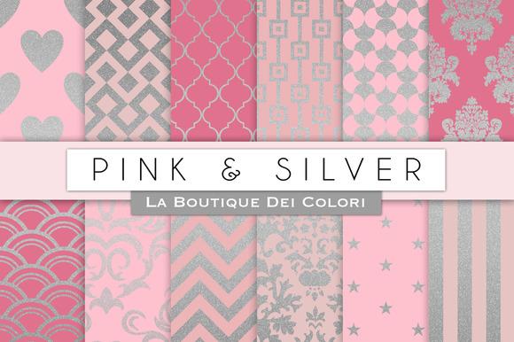 Pink Silver Digital Paper