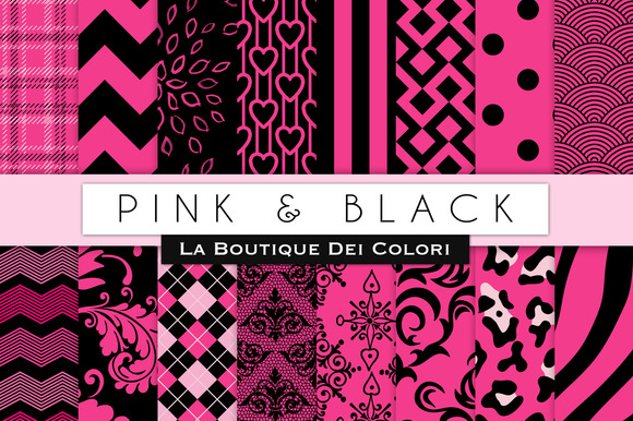 Pink Black Digital Papers