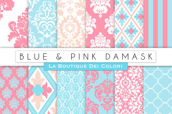 Blue Pink Damask Digital Papers