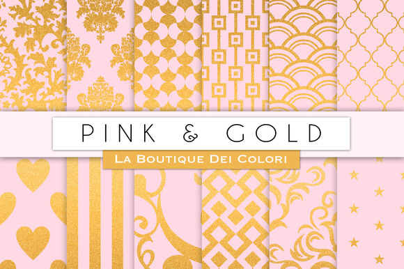 Pink Gold Digital Papers