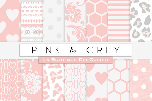 Pink Grey Digital Papers