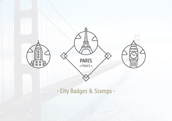 24 City Badges Stamps