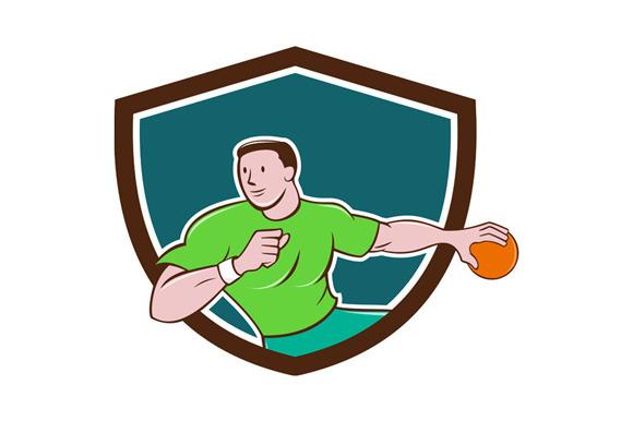 Handball Player Throwing Ball Crest