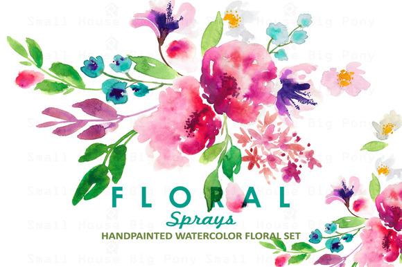 Floral Sprays-Watercolor Clip Art