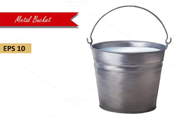 Metallic Bucket With Milk Vector