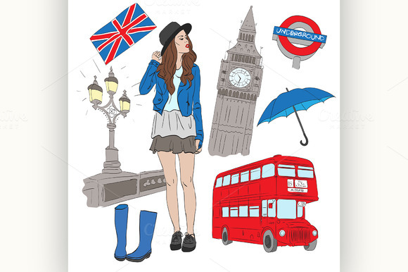 Girl And Vector Elements Of London