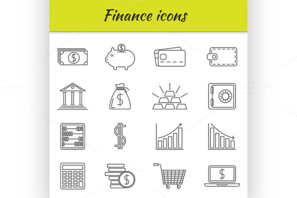 Outline Icons Set Finance Icon