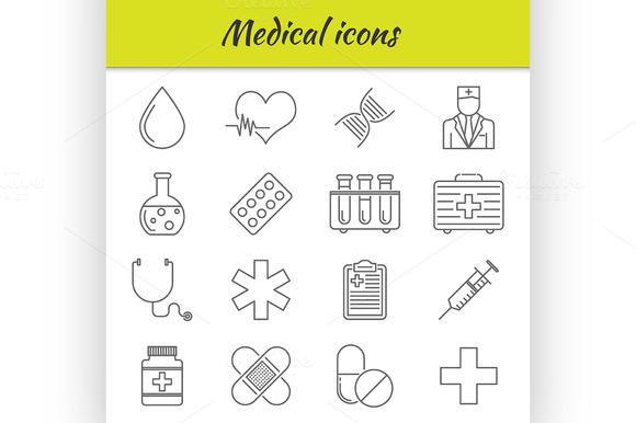 Outline Icons Set Medical Icon